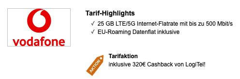 Vodafone DataGo L mit 25GB LTE/5G für eff. 16,66€mtl.