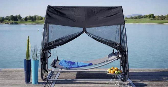 Ambia Schaukelliege mit Sonnendach und Mückennetz in Schwarz ab 189€ (statt 244€)