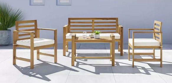 Bessagi Garten Loungegarnitur Mico aus Akazie inkl. Auflagen & Kissen für 209,30€ (statt 429€)