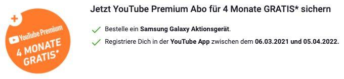 Samsung Galaxy S21 5G für 4,95€ + 4 Monate YouTube Premium gratis + Vodafone Flat mit 15GB LTE für 34,99€ mtl.