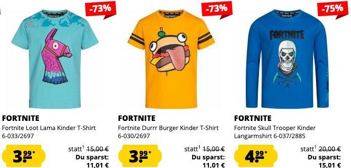 Fortnite Kinder Klamotten Sale   z.B. Hoodie für 7,99€ oder T Shirts für 3,99€