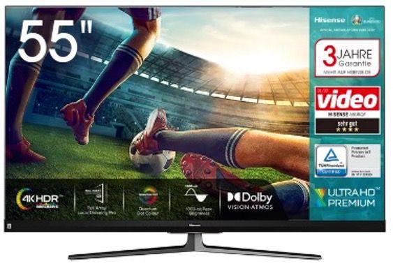 Hisense 55U8QF 4K UltraHD QLED Fernseher in 55 Zoll für 699€ (statt 847€)