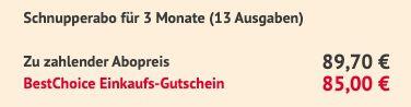 13 Ausgaben WirtschaftsWoche für 89,70€ + Prämie: 85€ BestChoice Gutschein