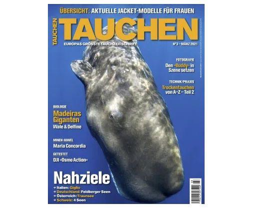"""12 Ausgaben vom """"Tauchen"""" Magazin für 96€ + Prämie 75€ Scheck"""