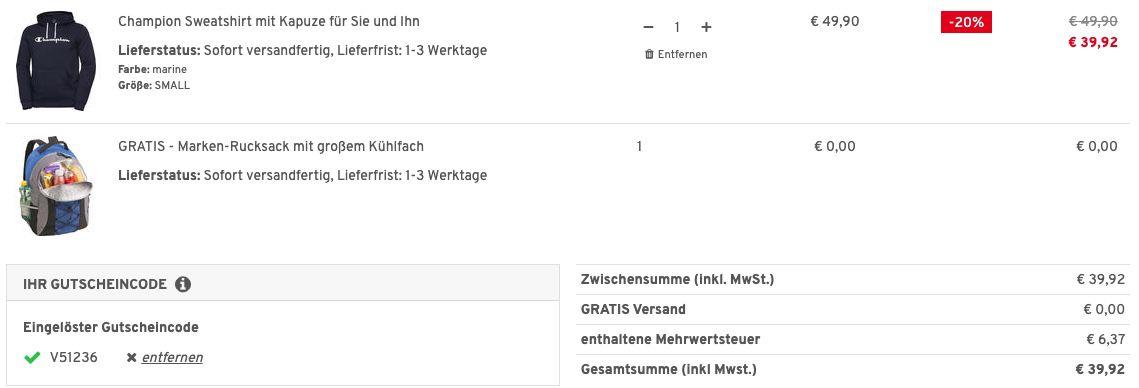 Champion Hoodie mit Kapuze + Nordcap Rucksack mit Kühlfach für 39,92€ (statt 65€)   nur S & M
