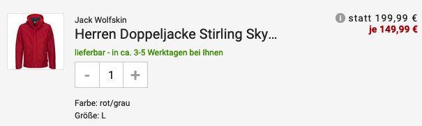 Jack Wolfskin Herren Doppeljacke Stirling Sky 3in1 aus Texapore in Rot für 149,99€ (statt 200€)
