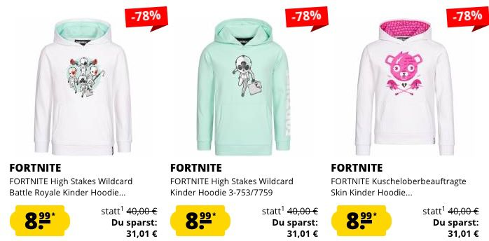 Fortnite Kinder Klamotten Sale   z.B. Hoodie für 8,99€ oder T Shirts für 3,99€