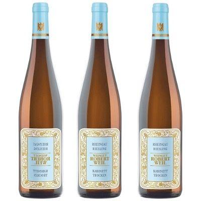 3 Flaschen Weingut Robert Weil Rheingau Riesling Kabinett trocken für 45,63€ (statt 63€)