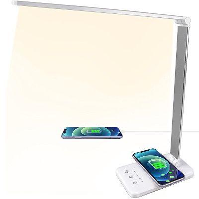 A3A ACADGQ LED Schreibtischlampe mit Qi-Charger & 5 Stufen für 14,99€ (statt 30€)
