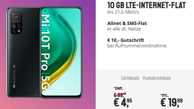 Xiaomi Mi 10T Pro 128GB für 4,95€ + Vodafone Allnet Flat mit 10GB LTE für 19,99€ mtl.