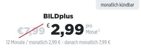 BILDplus Digital Abo 12 Monate für nur 2,99€ monatlich (statt normal 7,99€)