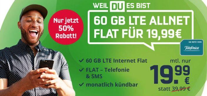 o2 Allnet Flat mit fetten 60GB LTE (225 Mbit/s) für 19,99€ mtl.