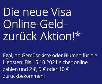 Visa: bis zu 10€ Cashback für online Kreditkarten Zahlungen   bis max. 15.10.2021