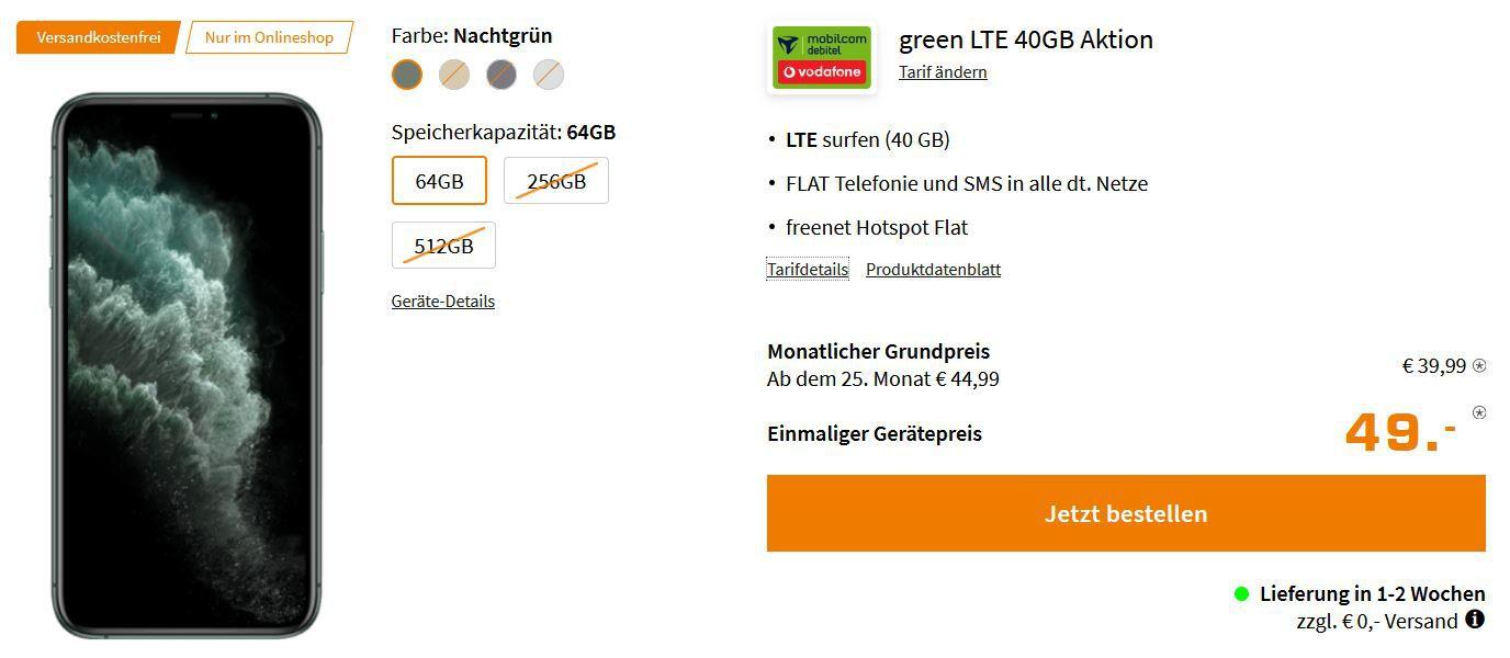 Apple iPhone 11 Pro für 49€ + Vodafone Allnet + 40GB LTE für 39,99€ mtl.