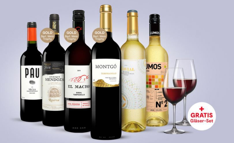 Vinos Frühlings Paket: 6 Flaschen Rot & Weißwein + 2 Schott Wein Gläser für 29,99€