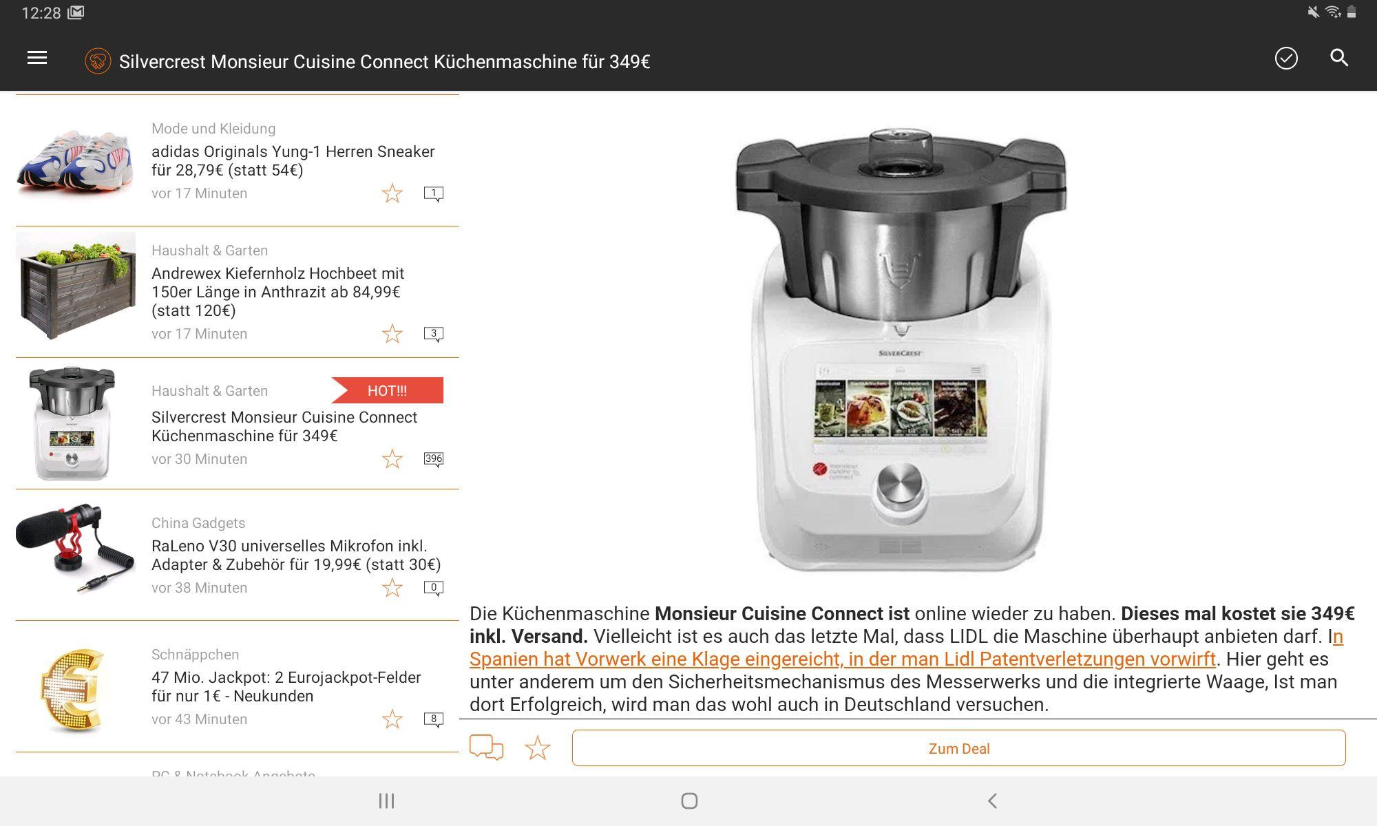 Mein Deal Android App für Tablet   bitte einmal updaten!