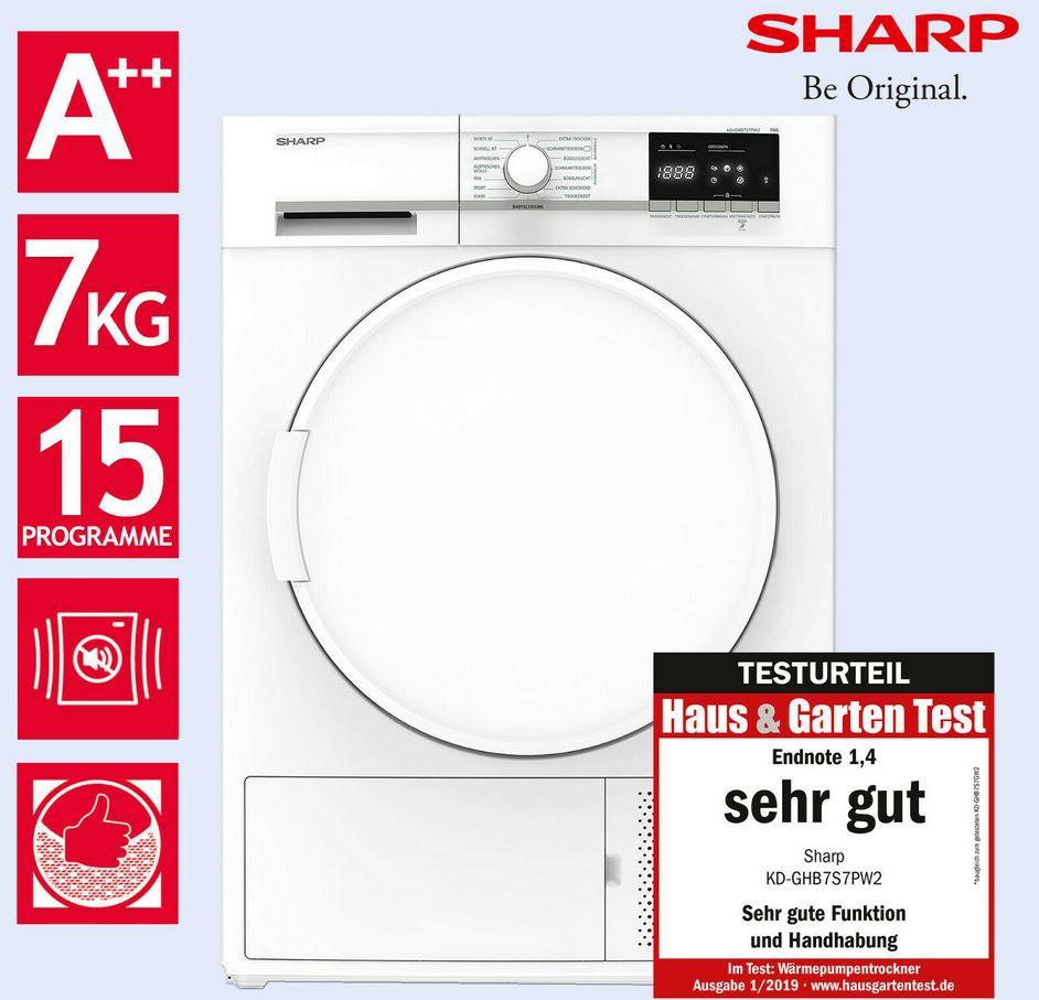 Sharp KD GHB7S7PW2 Wärmepumpentrockner 7kg für 359,90€ (statt 449€)