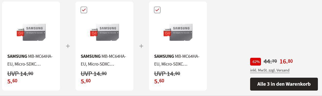3 x Samsung EVO Plus 64GB Micro SDXC für 16,80€ (statt 25€)