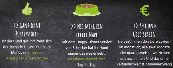 Schecker: Kostenloses Hunde Dinner & 10€ Gutschein zzgl. 2,50€ Versand