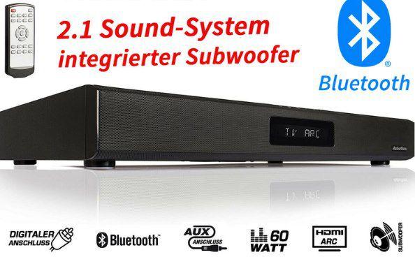 AudioAffairs 2.1 TV Soundbar mit BT & 60W für 59€ (statt 76€)
