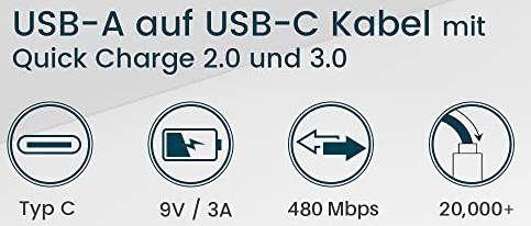 2er Pack: RAMPOW USB C Ladekabel (1 Meter) für 6,59€ (statt 12€) – Prime