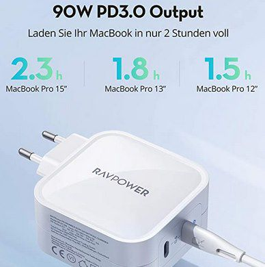 RavPower RP PC128   90W USB C Netzteil mit PD für 32,99€ (statt 50€)