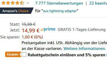 UGREEN Lightning Klinke Adapter (3,5 mm Kopfhörer) für 10,99€   Prime