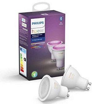 2er Pack: Philips Hue White and Color Ambiance GU10 Lampe mit BT für 70€ (statt 77€)