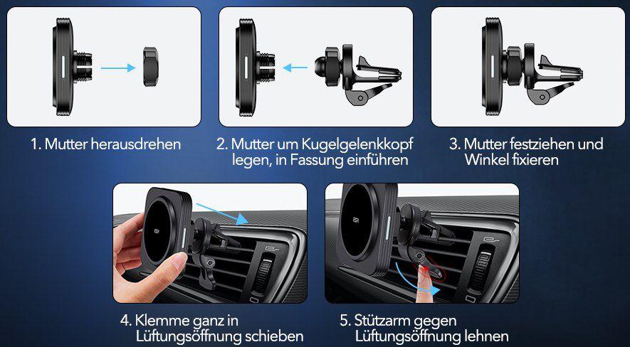 ESR 7.5W Qi Kfz Ladegerät mit MagSafe für 19,99€ (statt 27€)   Prime