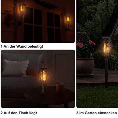 4er Pack: Ruyilam LED Solar Gartenfackeln mit 33 LEDs & Flammeneffekt für 25,34€ (statt 39€)