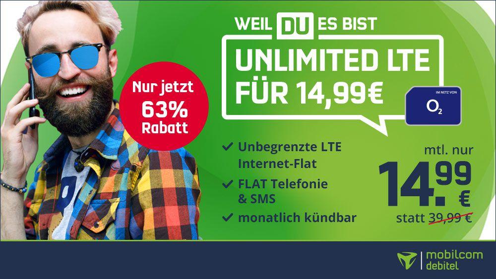 🔥 o2 Unlimited Smart mit unendlich LTE (10 Mbit/s) für 14,99€ mtl.   jetzt monatlich kündbar!