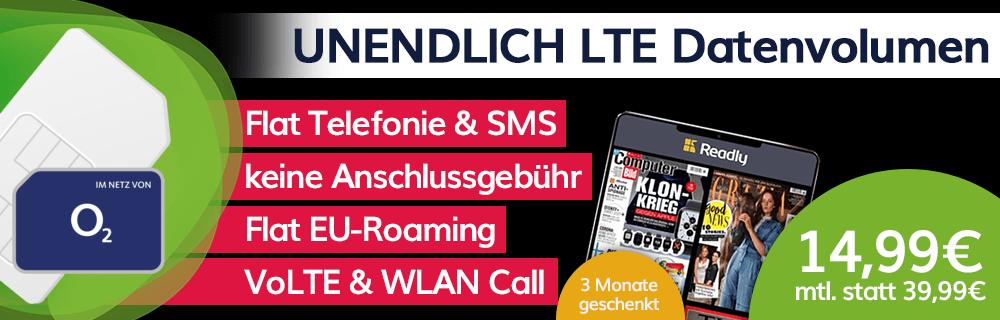 o2 Unlimited Smart mit unendlich LTE (10 Mbit/s) für 14,99€ mtl.