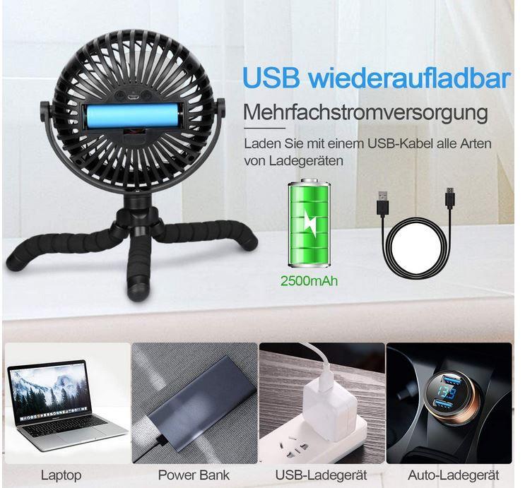 TAECCL USB mini Ventilator mit Akku und LED für 9,49€ (statt 19€) Prime