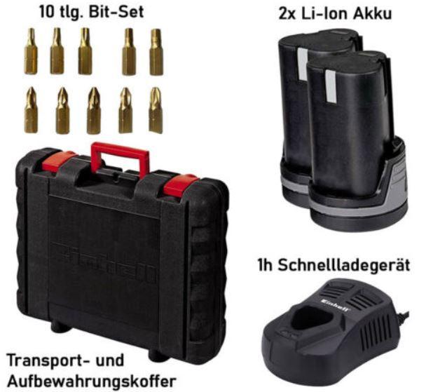 Einhell TE CD 12 Akku Bohrschrauber + 2 Akkus 1.3 Ah + Ladegerät + Koffer für 59,99€ (statt 86€)