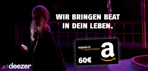 24 Monate Deezer Premium für 7,49€ mtl. (statt 9,99€) + 60€ Amazon Gutschein
