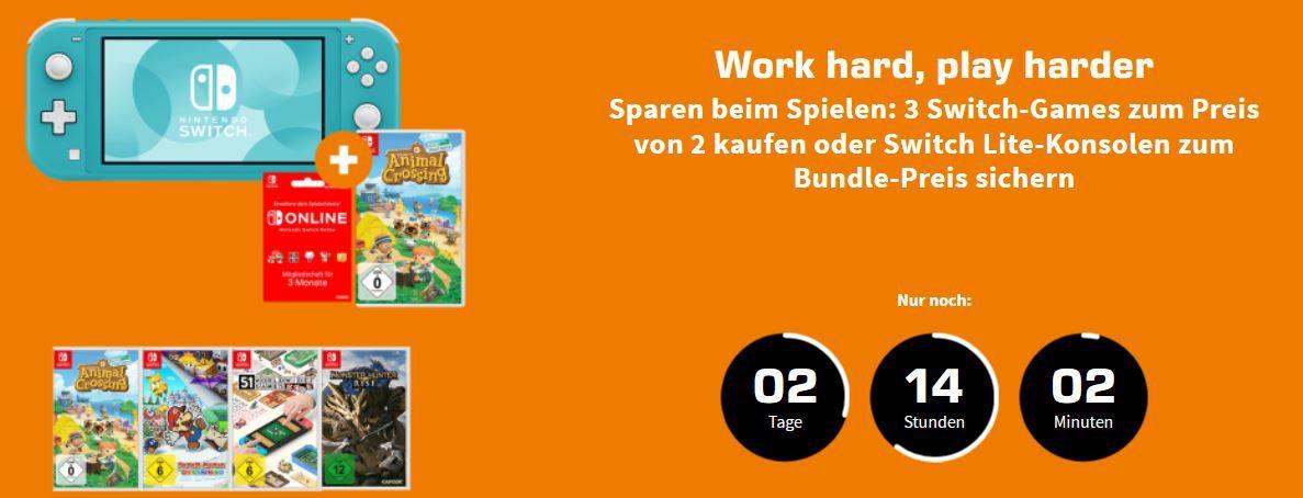 Nintendo Switch Game Aktion: 3 Spiele kaufen nur 2 bezahlen!