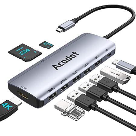 Acodot 9in1 USB C Hub mit USB 3.1, Thunderbolt, PD 100W, 4K HDMI & mehr für 16,24€ (statt 25€)