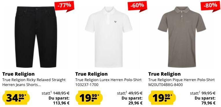 True Religion Mega Sale bis  80% + 5€ Gutschein ab 60€   z.B. Poloshirts ab nur 19,99€ (statt 34€)