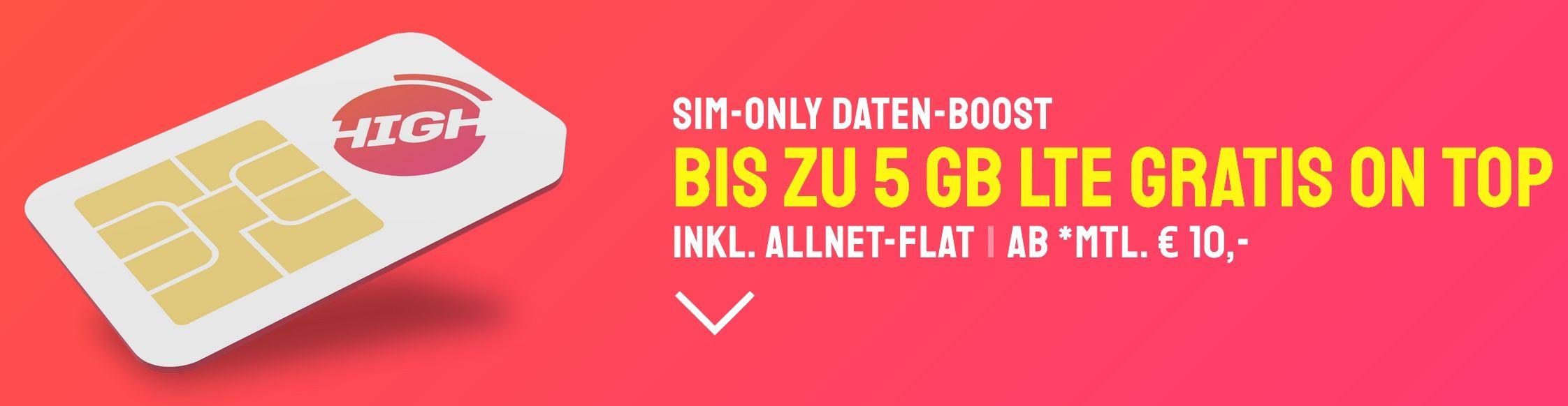 Sparhandy AllNet & SMS Flatrate SimOnly D Netz mit 5GB LTE25 für 10€ mtl.