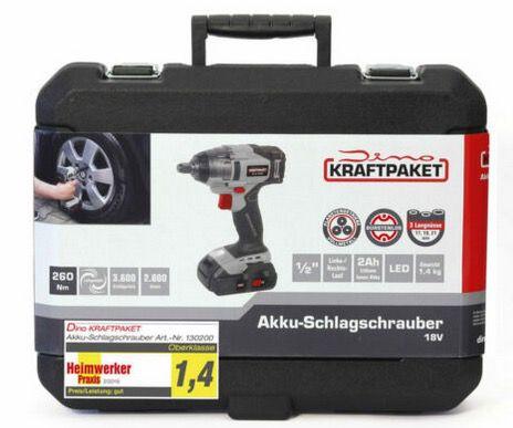 Dino Kraftpaket 130200 Akku Schlagschrauber 260Nm 18V mit Ladegerät im Koffer für 89€ (statt 149€)