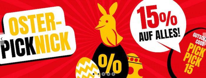 Osterpicknick bei Picksport mit 15% Extra Rabatt auf Alles   z.B. adidas Duramo Lite 2.0 für 20,89€ (statt 31€)
