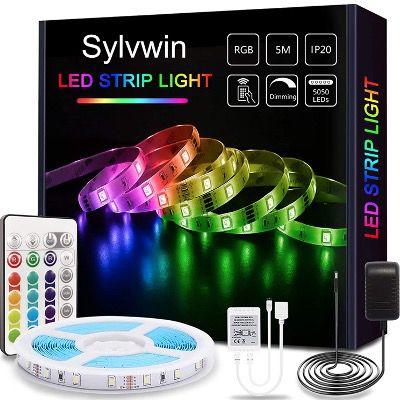 Sylvwin LED Streifen 5m RGB mit Fernbedienung und 16 Farbwechsel für 12,59€ (statt 18€)