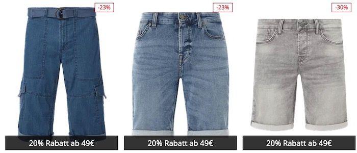 Jeans Shorts Sale mit bis 42% + 20% Extra Rabatt   z.B. 3x Jeans Shorts ab 47,97€ (statt 90€)