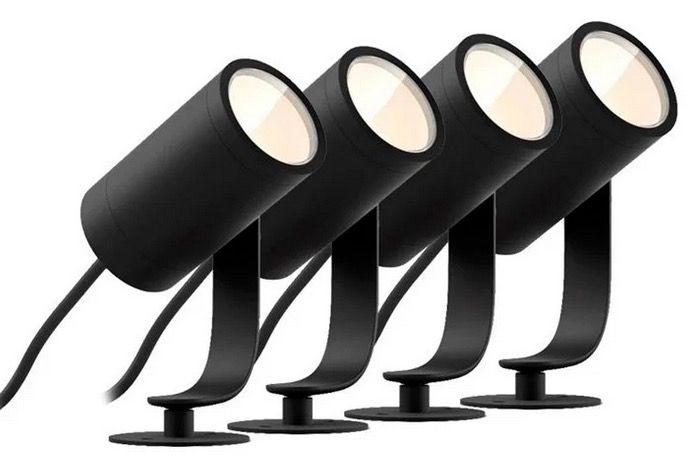 Philips Hue LED Gartenspot Lily 4er Basis Set in Schwarz für 264,49€ (statt 329€)   mit Bridge 274,49€