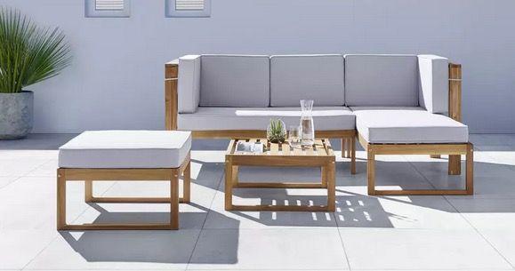 Bessagi Home Loungegarnitur Annelio inkl. Auflagen & Kissen Hellgrau für 419,30€ (statt 599€)