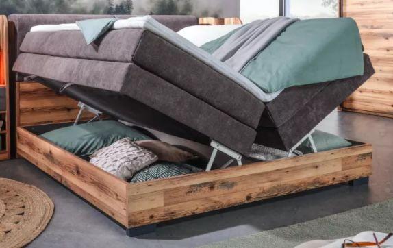 Boxspringbett in Eichefarben mit Bonellfederkern inkl. 7 Zonen Matratzen + Bettkästen für 1.418,30€ (statt 1.958€)