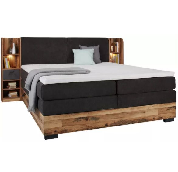 Boxspringbett in Eichefarben mit Bonellfederkern inkl. 7-Zonen-Matratzen + Bettkästen für 1.418,30€ (statt 1.958€)
