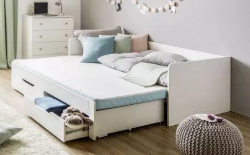 Ausziehbett in Weiß ca. 90x200cm inkl. Liegeflächen Erweiterung auf 180cm für 344,30€ (statt 458€)