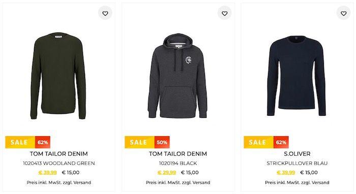 🔥 Pullover Restgrößen Sale bis 83% Rabatt + 10% Extra Rabatt   z.B. 3x Jack&Jones Baumwoll Pulli nur 40,50€ (vorher 75€)