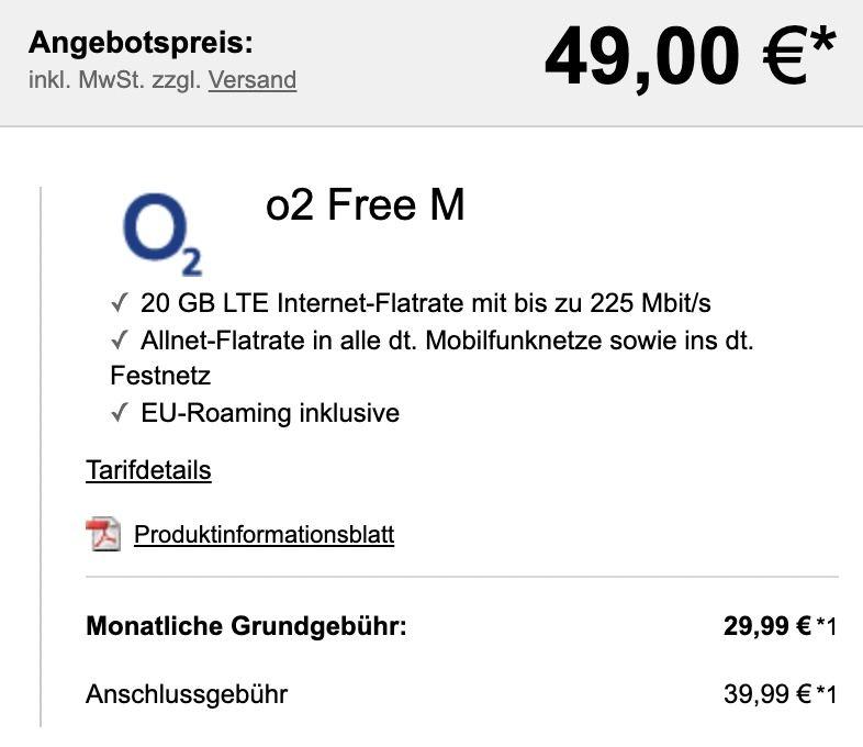 Sony Xperia 5 II für 49€ + o2 Allnet Flat mit 20GB LTE für 29,99€ mtl.